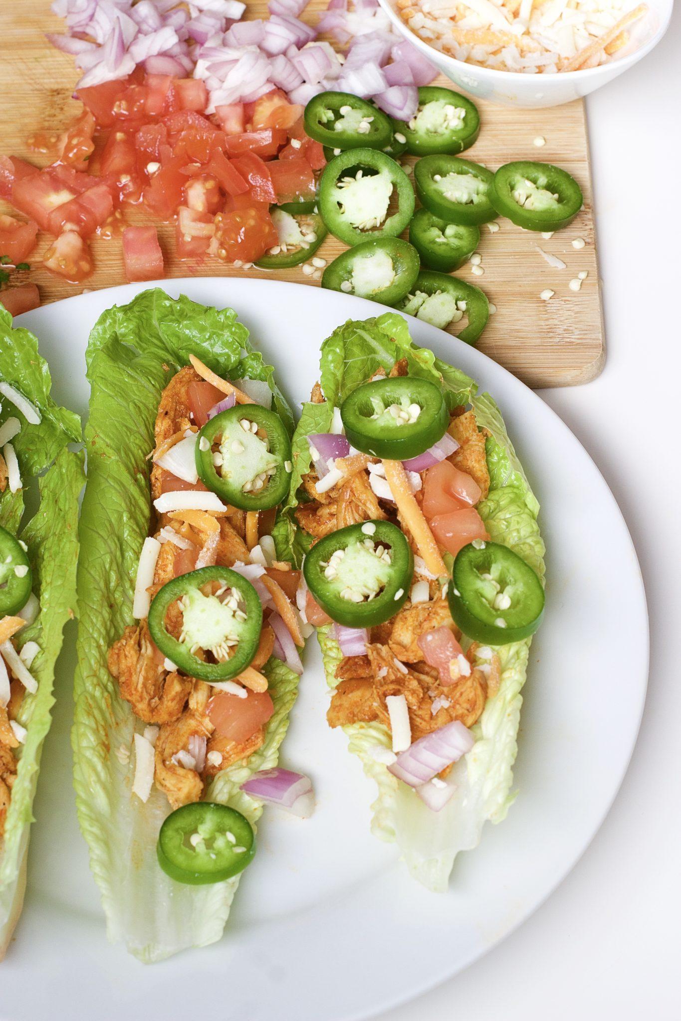 Buffalo Chicken Lettuce Tacos (Gluten-Free, Paleo)