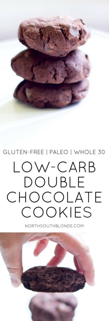 Low-Carb Double Chocolate Cookies are low calorie and low fat delicious chocolatey goodness without the guilt!