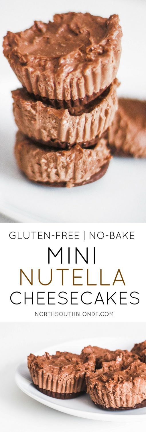 These No-Bake Mini Nutella Cheesecakes are absolutely heavenly. A soft, delectable, gluten-free dessert, and only involving three ingredients!