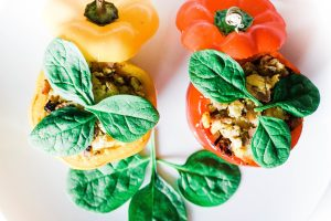 These scrambled egg stuffed peppers are easy, healthy, and extremely satisfying! A low-carb and whole 30 breakfast to start your day right! High protein | Whole 30 Breakfast | Paleo Breakfast | Sugar Free | Refined Sugar Free | Gluten-Free Breakfast | Brunch | Weight Loss | Nutrition | Nutritious | Quick and Easy | Wholesome | Filling | Scrambled Eggs | Lean | Turkey Bacon | Spinach | Oven Baked | Baked Eggs | Egg Cups | Keto Breakfast | Ketogenic Diet | Keto Food |
