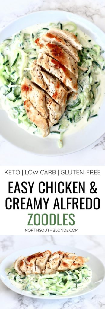 The easiest and healthiest dinner you can make! Zoodles, aka zucchini noodles, are the best dinner alternative to pasta, being keto friendly and low in carbs so you can lose the weight. Keto | Ketogrenic | Sugar Free | Alfredo Sauce | Low Carb | Lose Weight | Weight Loss | Meal Ideas | Healthy Recipe | Gluten-Free Recipes | Lunch | Chicken |
