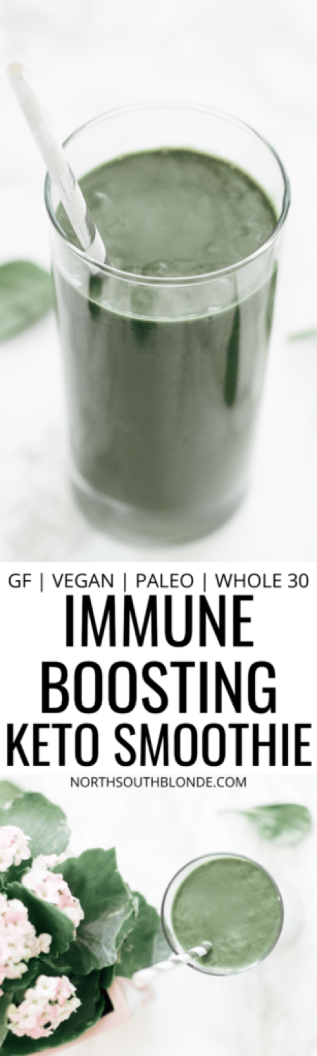 An immune boosting drink to protect your body during cold and flu season. Rich in antioxidants and vitamin C, it's also vegan, paleo, and whole 30 friendly. Superfood Smoothie | Low Carb | Weight Loss | Weight Management | Detox | Boost Immunity | Flu Fighting | Healthy Drinks | Immune Boosting Recipes | Ketogenic | Keto Smoothie | Green Smoothie | Ginger Smoothie | Antioxidants | Immune System | Boost Metabolism | Energy | Burn Fat | Keto Smoothies | Keto Green Smoothie