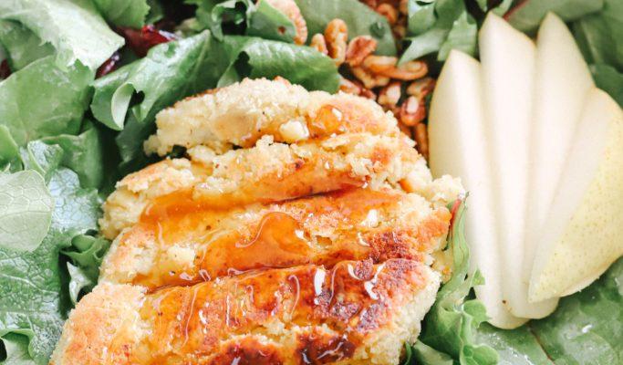 Sweet Pear Glazed Vegan Chicken Salad (Gluten-Free, Sugar Free)