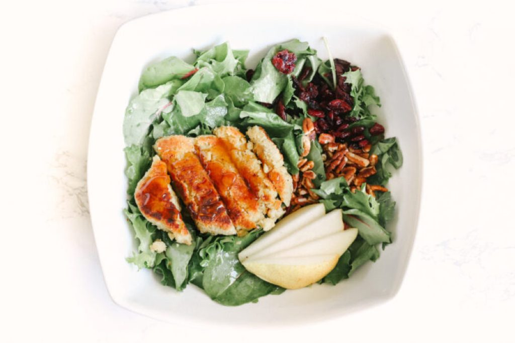 This sugar free, gluten-free, vegan chicken salad is a game changer when it comes to easy, plant-based dinners. Under 30 minutes. Delicious and healthy! Vegan Dinner   Meat Alternative   Chicken Substitute   Summer Salad   Sweet and Savoury   Vegetarian   No Meat   Dairy Free   Sugar Free   Clean Eating   Plant Based   Pears   Anjou Pears   Pear Glaze   Pear Glazed   Cranberry Salad   Pecan Salad  