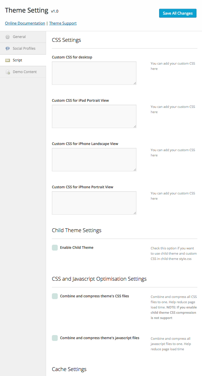 Theme Setting > Script for custom CSS and script compression features