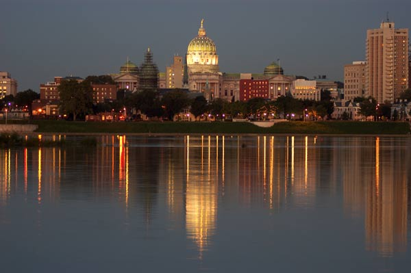 Reflections of Harrisburg from accross the Susquehanna