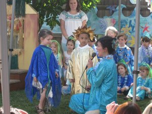 At last May's annual Mother's Day Celebration, students perform in a play featuring the African folk tale, Why the Sun and the Moon Live in the Sky.