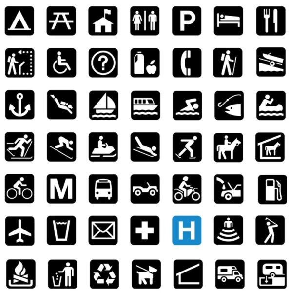 Check out this chart of signs & symbols. How many do you recognize at a quick glance? These and many more signs are found throughout the National Park. From the National Parks – Signs and Symbols Guidebook.