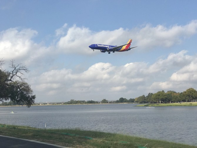 Plane landing at Bachman Lake
