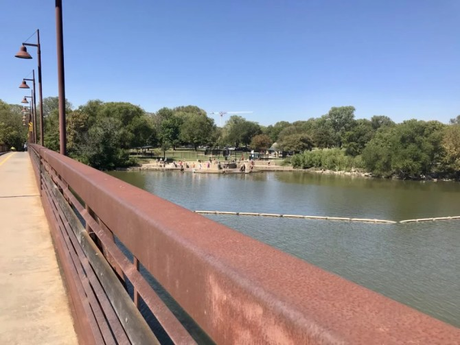 White Rock Lake: View of dog park from bridge
