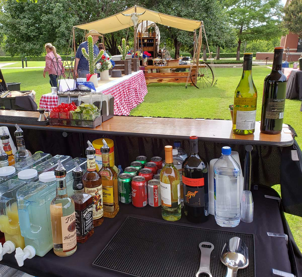 Party Linens and Supplies North Texas Wedding and Event Services at an outdoor western theme event