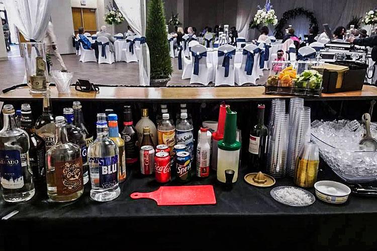 bar set up at a wedding event