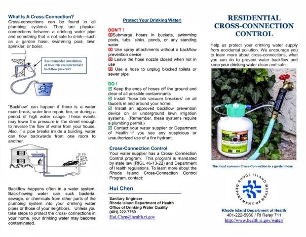RIDOH brochure describing backflow prevention. Page 1