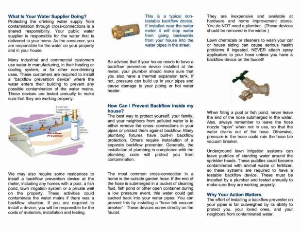 RIDOH brochure describing backflow prevention. Page 2
