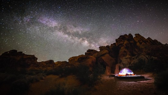The Milky Way at Atlatl Campground in Valley of Fire State Park, Nevada, USA on northtosouth.us
