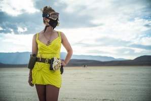 Burning Man 2014 women's costume sunset playa portrait