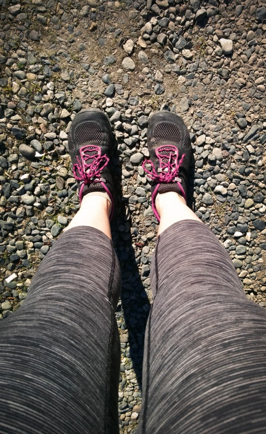 Lucy Hatha Capri Leggings with Merrell Pace Glove 2 Shoes
