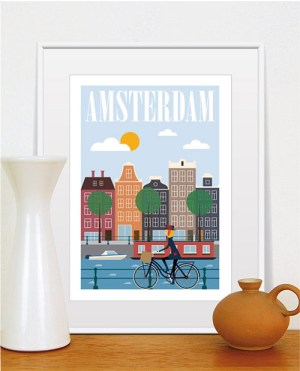 Amsterdam travel poster by TomasDesign on Etsy