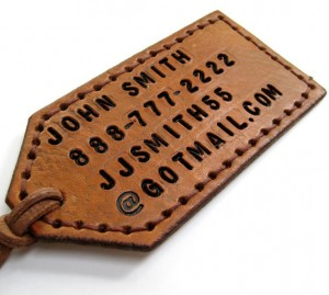 personalized luggage tag by BirchCreekLeather on Etsy