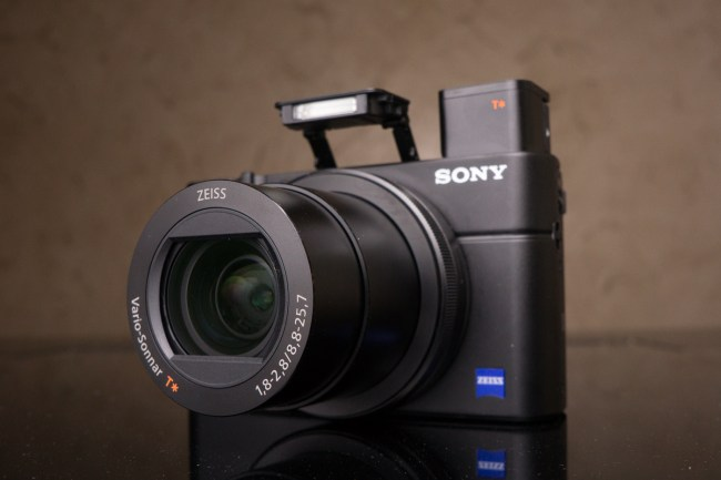 Sony RX-100 III digital camera front view with flash and viewfinder