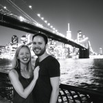 Diana Southern and Ian Norman in front of the Brooklyn Bridge and New York City