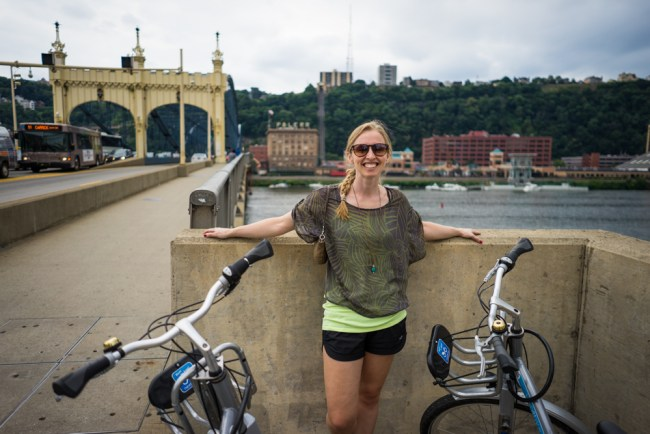 Diana Southern and Ian Norman riding bikes in Pittsburgh