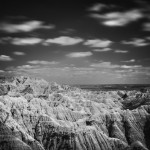 Badlands National Park infrared photo in black and white