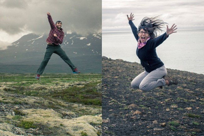 Chris Tyre and Ismary Torres jumping in Iceland