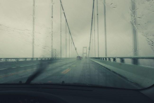 Chesapeake Bay Bridge in the rain