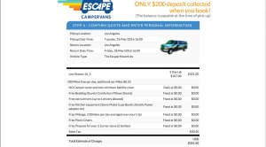 Escape Campervan online booking 3-day sample