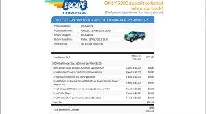 Escape Campervan online booking 3-day sample