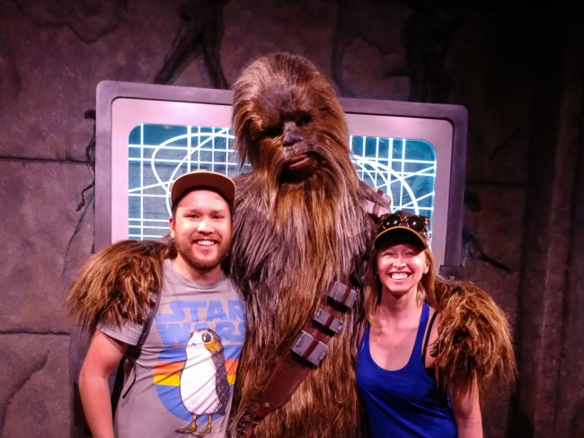 Meeting Chewbacca at Star Wars Launch Bay