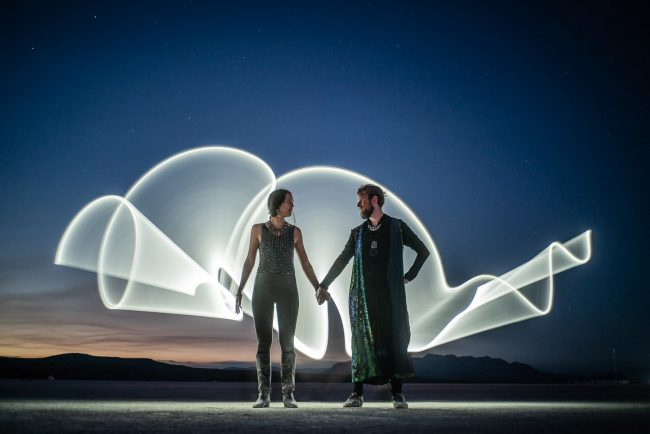 Burning Man 2018 light painting portraits by Ian and Diana Norman