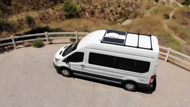 Solar panels and 80/20 roof rack on our Ford Transit campervan