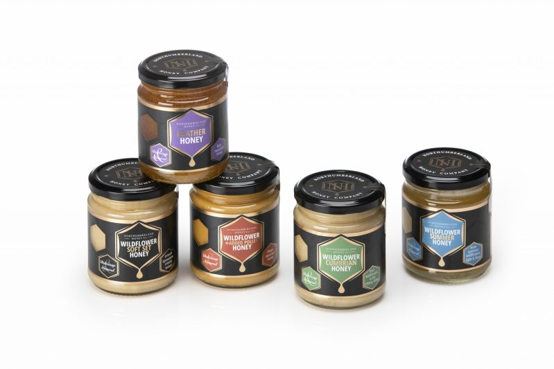 Honey jar range by Northumberland Honey Co