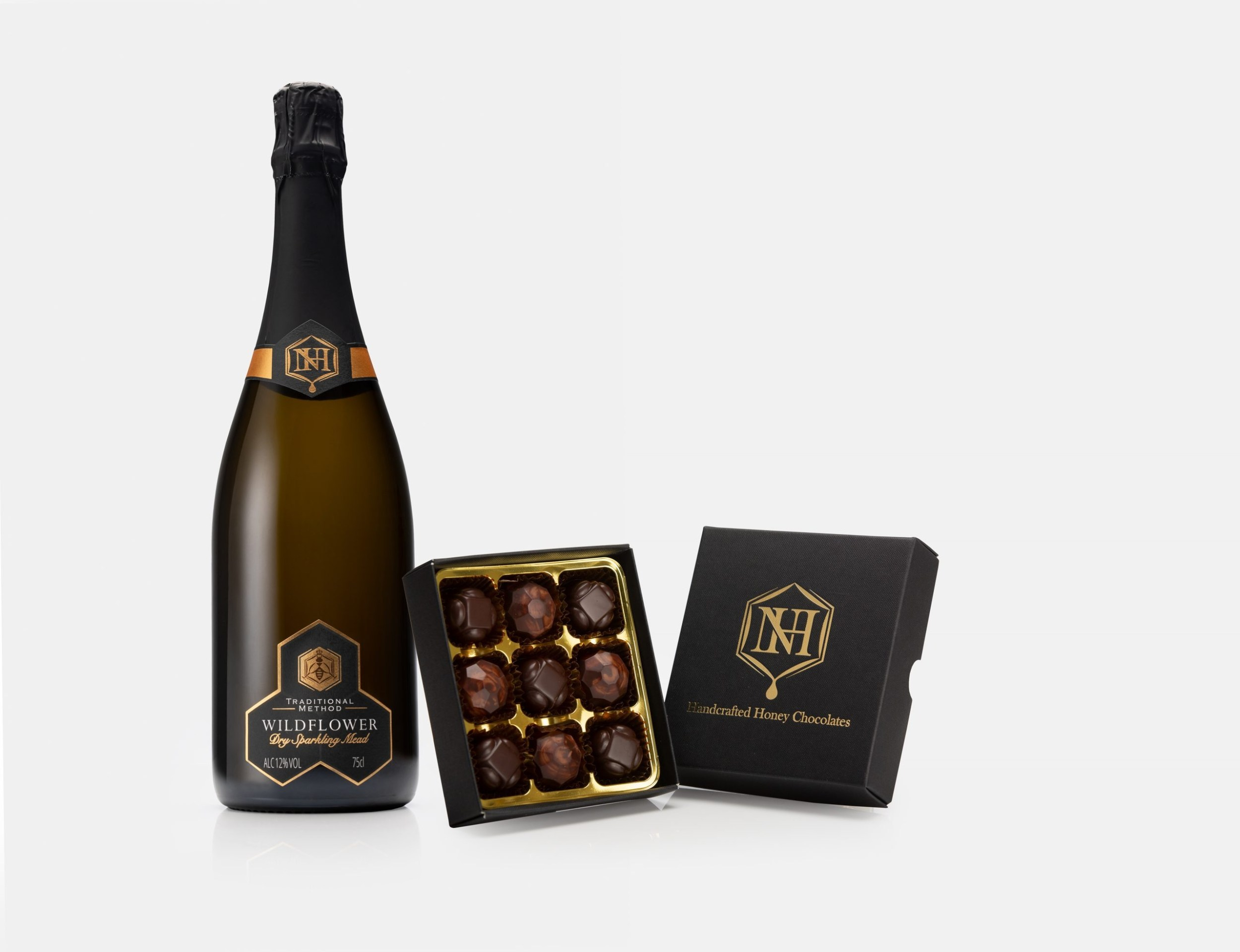 Wildflower Sparkling Mead with Honey Chocolate Truffles