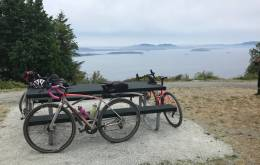 View of Bellingham Bay from mid-ride at the Chuckanut Grind