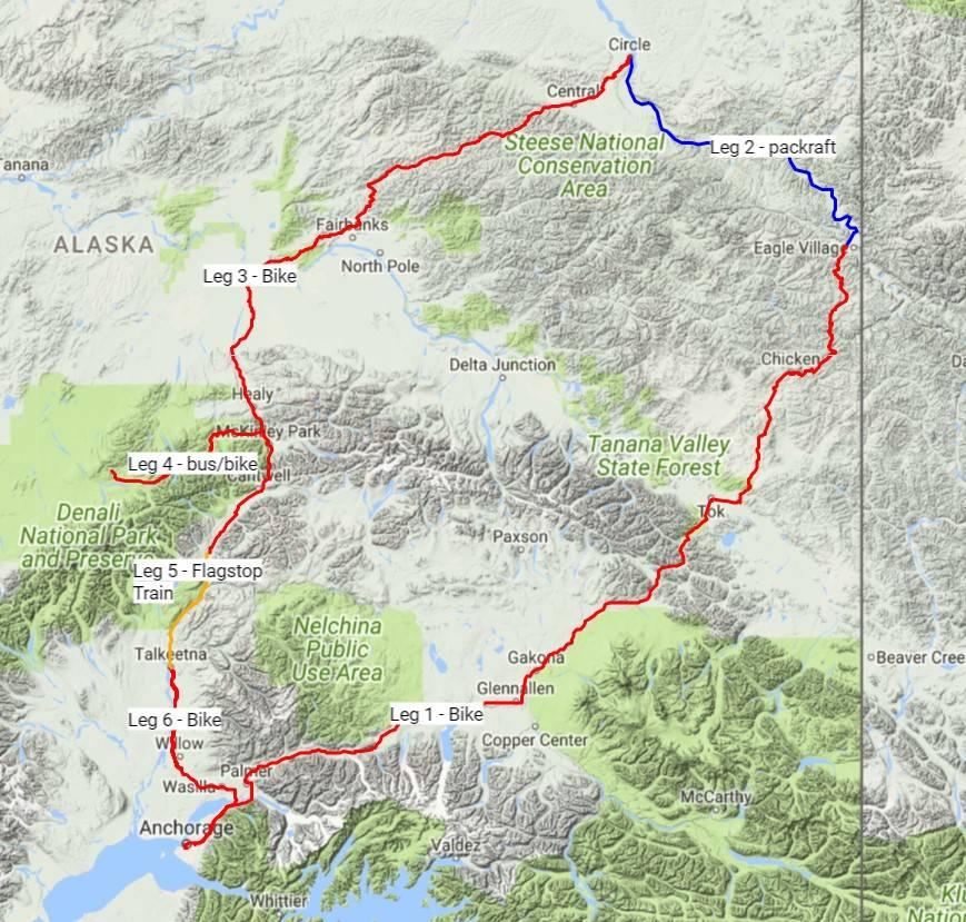 Jessica's 1,300 mile route
