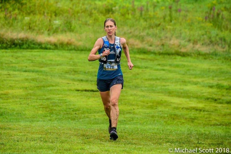 Coach Trisha Steidl at the 2018 US Trail 50k Championships where she won the masters competition and finished 8th overall. Photo Credit: Michael Scott