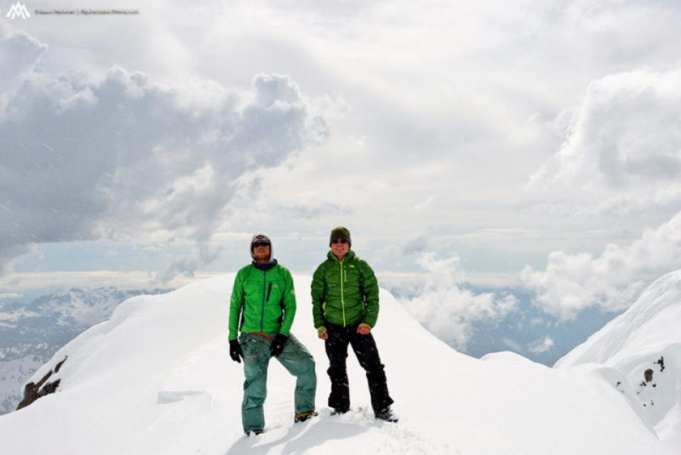 Kyle and Jason on the summit of Glacier Peak at the end of the American Alps Traverse in 2013.