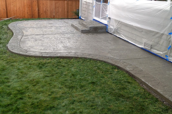 The concrete has been stamped and is ready for color.