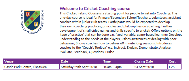 Omagh Fermanagh Cricket lEVEL 1 cOURSE sEPTEMBER 2018