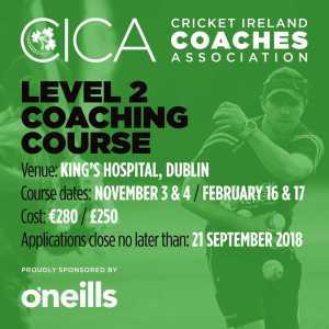 Cricket Ireland Level 2 Coaching course dublin November 2018