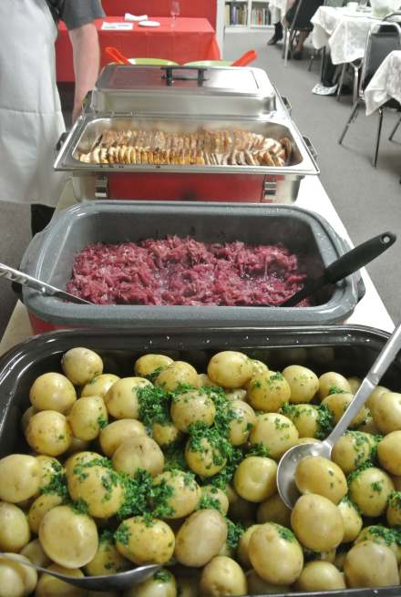 Delicious Danish meal for the 2017 Auction made by Jorn Mathiasen: Svinekam, persille kartofler, rødkål, and agurkesalat