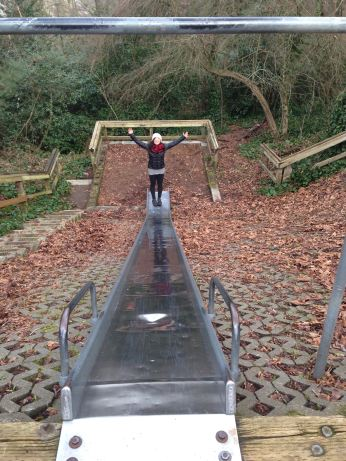 Conquering the longest, lonliest slide in the city