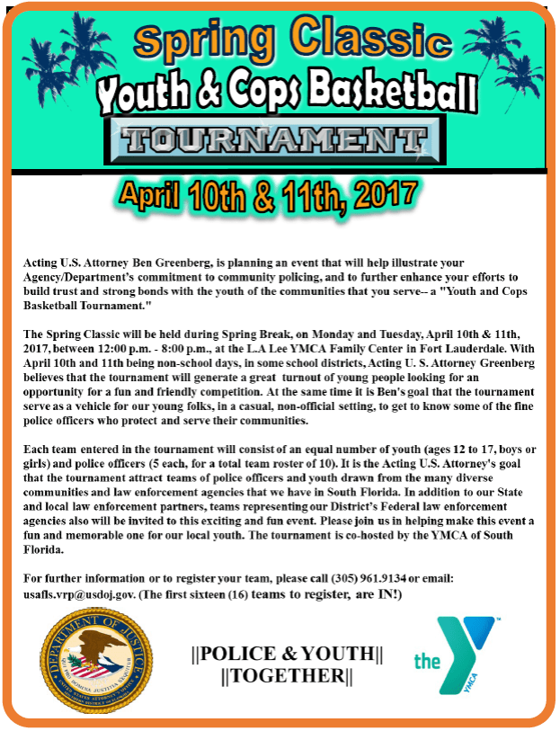 Youth and Cops Basketball Tournament Back