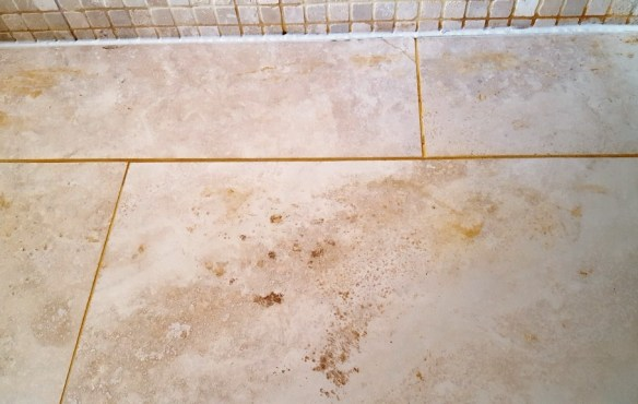 Travertine WetRoom Harrogate Before Cleaning