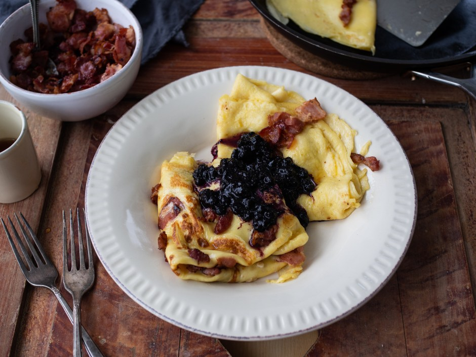Norwegian Pancakes with Bacon, Sirup and Blueberry Compote (Fleskepannekaker)