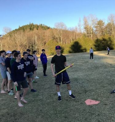 The boys from East Dorm played Wiffle ball earlier this week. That's Cobble Hill in the background. (Photo: provided)
