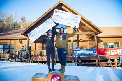 Audrey Higgins-Lopez '21 and Gabe Munter '20 won the open ski cross races at the 2019 Empire State Winter Games.